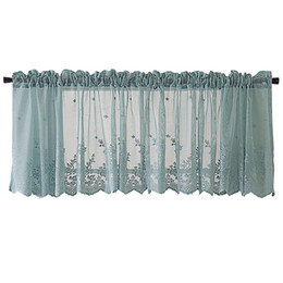 roman curtains Australia - MeterMall Modern Lace Hem Roman Short Window Curtain for Coffee Kitchen Cabinet Home Decor