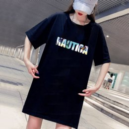 women tee dress Australia - Women's T-Shirts 2020 Fashion New Womens Letter Print Crew Neck T-shirt Casual Women Breathable Dress Style Tee 2 Color Size M-4XL