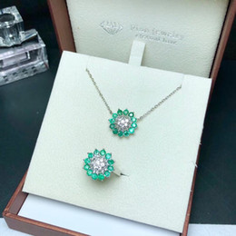 Silver Emerald Jewelry Australia - Handmade Natural Colombian Emerald Jewelry Set Made Of 925 Soild Sterling Silver Open Ring and Necklace Suit For Mother's Day Gift