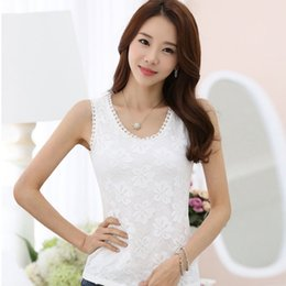 $enCountryForm.capitalKeyWord NZ - Women Fashion White Lace Vest O-neck Sleeveless Shirts Tank Top Elegant Shirt Women Summer Tops Plus Size S-4XL