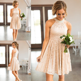 $enCountryForm.capitalKeyWord Australia - New Cheap Country Short Blush Pink Bridesmaid Dresses For Weddings Jewel Halter Full Lace Peals Sleeveless Plus Size Maid of Honor Gowns
