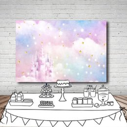 Fabric spray paints online shopping - MEHOFOTO Photography Backdrop Castle Clouds Stars Glitter Rabow Baby Background Photo Shoot Photocall Photobooth Fabric Decor