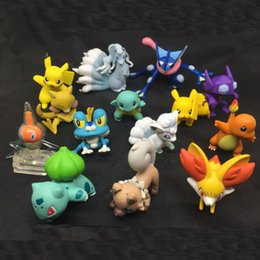 Red Figures Australia - High Quality Original TOMY 4CM Froakie Greninja Chespin Pikachu Action Figures Doll Cartoon Game Figures Toys Kids Toys For Children's Gifts