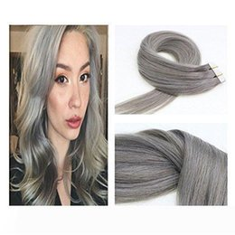 22 real human hair extensions Canada - A Tape In Real Human Hair Extensions Silk Straight Skin Weft Extensions 2.5g piece 40 piece lot Silver Grey Human Hair