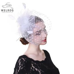 Hat Veils Netting Australia - WELROG White Wedding Bride Veil Hair Clip Handmade Mesh Hairgrip Fascinator Hat Elegant Women Floral Net Face Hat Female