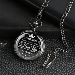 "unique watches Australia - ""To MY SON' Engraving Word Black Pocket Watch Men Roman Number Watches Unique Quartz Clock Chain Boy Birthday Christmas Gifts"