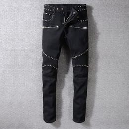Discount street style cat - High Street Black Trend Jeans Male Wathet Cat Wear Out Slim Small Feet Microprojectile Punk Trousers