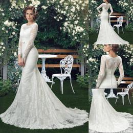 $enCountryForm.capitalKeyWord Australia - Long Sleeve Lace Mermaid Wedding Dress 2020 Jewel Sheer Neck Bride Gowns With Sash Bow Button Beach illusion Wedding Bride