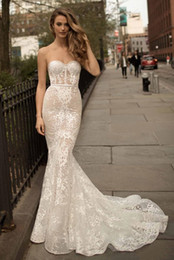 $enCountryForm.capitalKeyWord Australia - 2019 Berta Full Lace Mermaid Wedding Dresses Sweetheart Neck Illusion Bodice Sweep Train Sexy Open Back Appliqued Bridal Gowns