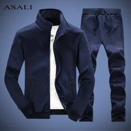 Wholesale mens track suit resale online - Solid Tracksuit Men Spring Casual Mens Set Slim Fit Autumn Outwear Jacket Pants Piece Sets Male New Track Suits Man XL