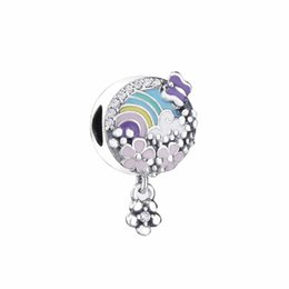 Story Charms Australia - 2019 Spring New 925 Sterling Silver Flower Color Story Charm Bead Fits European Pandora Jewelry Charm Bracelets