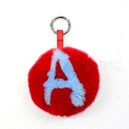 Key chain letter opener online shopping - Free DHL Fur Ball Alphabet Letter Cute Pom Pom Keychain Handbag Pendant Lovely Keychain Handmade Bag Charm Pendant Key Chain