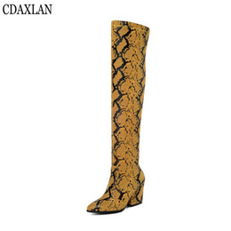 $enCountryForm.capitalKeyWord Australia - CDAXILAN new arrivals women's boots snake-printed microfiber leather stretch fabric square high heels over-the-knee boots winter