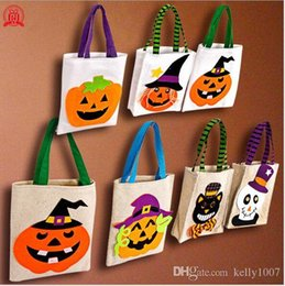 $enCountryForm.capitalKeyWord Australia - 2020 Hot Sale Halloween Gift Bags Large Cotton Canvas Hand Bags Pumpkin,Devil,Spider Printed Halloween Candy Gift Bags A11