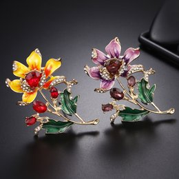 $enCountryForm.capitalKeyWord Australia - Top Fashion High Grade Designer Brooches Ruby Flower Brooch Luxury Rhinestone Brooch Pins Women Clothing Suits Accessories Brooches Jewelry