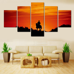 Human Oil Painting Australia - Handsome Human Riding Stronger Horse,5 Pieces HD Canvas Printing New Home Decoration Art Painting Unframed Framed