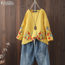 red tunic tops Australia - S 5XL ZANZEA Summer Casual Shirts 2019 Women Long Sleeve Cotton Linen Blouse Vintage Floral Embroidery Tunic Tops Female Blusas