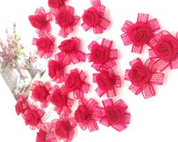 Bridal Brooch Flower UK - 100pcs Handmade Rose Red Yarn Flowers Wedding Party Table Confetti Decoration Hair Pins DIY Supplies Bridal Wrist Flower Brooch Accessories