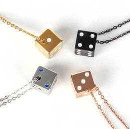 Men Lucky Pendant NZ - Lucky Dice necklace Fashion Stainless Steel Necklaces For Men Lucky Dice necklaces & pendants Choker Necklace Women Men Couple colar