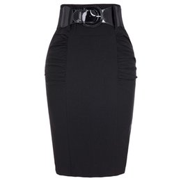 f88d1d64d83c 2018 Sexy Party Pencil Skirts Womens Business Work Office Skirt Sashes High  Waist Elastic Bodycon Slim Fitting Ladies Skirts Y19043002