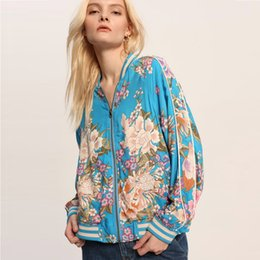 flowers blue Australia - TEELYNN BOHO Bomber Jacket spring rayon blue Floral print long sleeve Coats brand Flowers Casual Hippie women jacket Outerwear