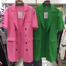 $enCountryForm.capitalKeyWord Australia - SHENGPALAE 2019 Spring Women Suit Turn-down Collar Short Sleeve Loose Coat Summer Row Buckle Temperament Ol Female Coats FR201