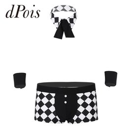 underwear play NZ - Novelty Men Maids Butler Cosplay Costume Clubwear Lingerie Sexy Male Role Play Party Outfit Plaid Exotic Boxer Panties Underwear