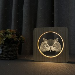 $enCountryForm.capitalKeyWord Australia - The Owl 3D Design Wooden Acrylic Night For Living Room Boutique Store Decor Bedroom Table Lamp Exquisite Kids Birthday Christmas Xmas Gift