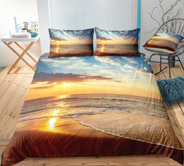 $enCountryForm.capitalKeyWord Australia - Beautiful Dusk Beach Bedding Set King Romantic Duvet Cover 3D Printed Queen Home Textile Double Single Bed Set With Pillowcase 3pcs