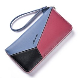 Blocks For Girls Australia - Long Wallet For Women Color Block Patchwork Women Purse Clutch Wristband Large Capacity Girls Wallet Lady Coin Phone Card Holder