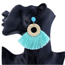 stud drop tassel Australia - Bohemian Fan-shaped Tassel Ear Stud Handmade Bamboo Earrings Big Circle Scalloped Fringe Drop Earring Vintage Dangle Jewelry Women Gifts