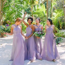Wholesale Lavender Chiffon Boho Long Bridesmaid Dresses Halter Ruched Backless Wedding Bridal Guest Party Maid Of Honor Dresses BM0942