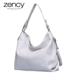 $enCountryForm.capitalKeyWord Australia - 2019 New Fashion Soft Real Genuine Leather Tassel Women Handbag Elegant Ladies Hobo Shoulder Bag Messenger Purse Satchel White J190719
