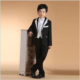 New model paNt boys online shopping - Boy New Style Small Suits Color Black Kids Dress Suits Five Pieces Blazer Pant Vest Shirt Bow Tie Wedding Performance Flower Boy Suits