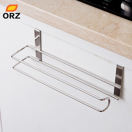 kitchen rack hooks NZ - wholesale Stainless Steel Kitchen Tissue Holder Hanging Bathroom Toilet Roll Paper Holder Towel Rack Kitchen Cabinet Door Hook
