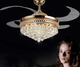 Nickel Fan Australia - Intelligent frequency conversion invisible ceiling fan lamp European living room dining room bedroom study LED ceiling lamp super silent fan
