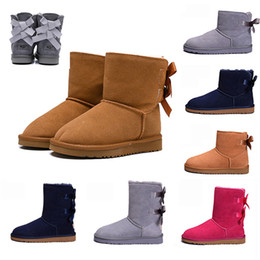 Newest fashioN boots online shopping - Newest WGG Bow rosette bow knot Knee Boots Half Ankle boots Australia Black Grey Chestnut Navy Blue Red Brown Women Girl Snow Boots EUR36