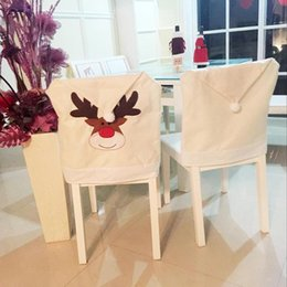 christmas hat chair covers Australia - 1 4 6 8 PCS Embroidered Deer Hat Chair Covers Christmas Decor Chair Xmas Cap Elk Cap Cover Dinner Table Party Decoration