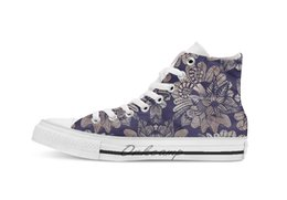 $enCountryForm.capitalKeyWord Australia - Elegant Rose Gold Floral Drawings On Navy Blue Novelty Design Breathable Casual High Top Lace-up Canvas Shoes