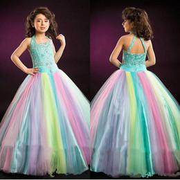Teen models girls online shopping - 2019 Fashion Rainbow Glitz Girls Pageant Dresses Halter Neck Crystal Sleeveless Kids Ball Gowns Floor Length Teens Flower Girl Prom Dress