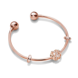full circle silver bangles 2020 - valentine gifts sale Pandora rose gold star charm open bangle bracelets 925 sterling silver jewellery full package gifts