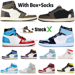 Silver muScle online shopping - 1 High Travis Scotts Low Fearless Obsidian Mens Basketball shoes Spiderman UNC s Chicago Banned Bred Toe Men Sport Designer Sneakers