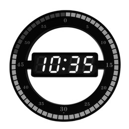 Discount europe electronics Electronic Clock 3D Hollow LED Digital Automatic Adjustment Brightness Round Home Wall Clock With US Plug Black Plastic