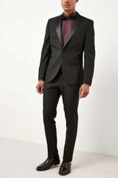 ebe4ec15fd9 Latest Coat Pant Designs Smoking Black Men Suit Slim Fit 2 Piece Tuxedo  Groom Style Suits Custom Prom Blazer Terno Masculino (Jacket+Pants)