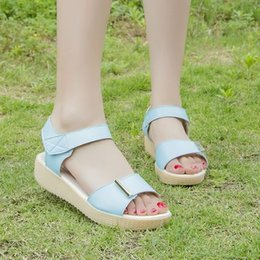 $enCountryForm.capitalKeyWord NZ - Simple one-line open-toe student sandals for summer 2019 are small and fresh with low heels and flat flats Velcro peep-toe sandals are 4cm h