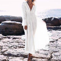 Free Size White Beach Dress Australia - Boho Deep V Neck Hollow Out Long Dress Women Plus Size Summer Beach Tunic White Cotton Sexy A Line Long Dress Vestidos #n274 C19041001
