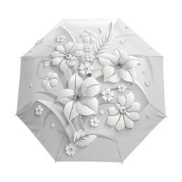 100d49a32 Full Automatic 3d Floral Guarda Chuva White Chinese Sun 3 Folding Umbrella  Rain Women Anti Uv Outdoor Travel Sombrinha Q190603