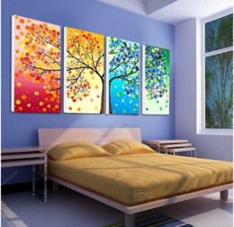 colourful art paintings Canada - Wall Art Canvas Painting Colourful Leaf Trees abstract picture Wall Art poster Spray For Living Room Home Decoration Painting
