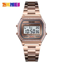 Wholesale SKMEI Women Watches Drill Diamond Sport Watch Digital Alarm Stainless Steel Luxury Ladies reloj inteligente mujer Women Watches