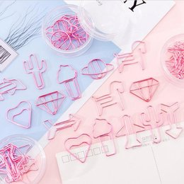 cute paper clips Australia - cute creative metal paper clips pink color cartoons shape plating binder clips photos tickets notes letter paper clipc stationery 8pcs lot